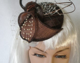 Small Brown and mink sinamay button fascinator (OOAK)
