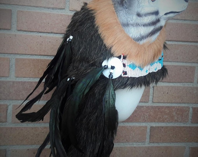 Real Feather Warrior Indian Headdress  with  Horns, Native American Costume Hand Made and  Horns WarBonnet Hat