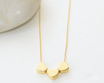 Three Little Hearts Necklace, Gold Jewelry, Gold Necklace