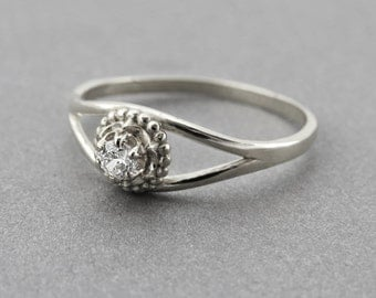 Diamond engagement ring - Unique engagement ring, Delicate diamond ring, 14k solid gold diamond engagement ring, Solitaire ring.