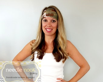 The Camo Print Yoga Headband - Spandex Headband - Boho Wide Headband