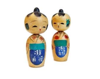 Handmade Wooden Kokeshi Dolls. Cute Vintage Wooden Dolls Hand Painted in Japan. 1950s.