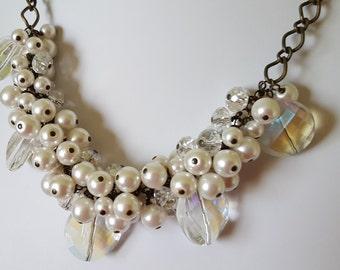 Glass Pearl & Swarovski Cluster Necklace
