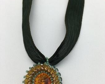 Topaz Swarovski Crystal Ribbon Necklace