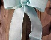 Sea Foam Aqua Pastel Bow wired ribbon Chair Pew burlap look wedding gift bows garland spring summer reception decoration