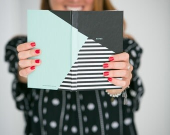 Mint and Black Color Block Notebook