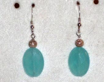 Aqua Chalcedony Sterling Silver Artisan Dangle Earrings