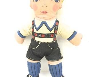 Vintage Cloth Fabric Hansel Doll