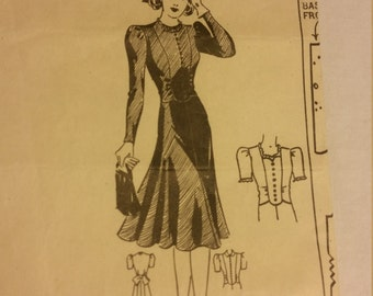 Vintage 1940s dress pattern  - Mary Cullen's 2739 - Size 20 - B38, H41