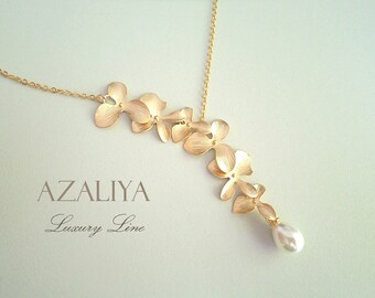 Wild Orchid Necklace with Pearl in Gold. Bridal Necklace. Azaliya Luxury Line. Bridal necklace, Bridesmaids Gift.