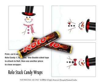 Rolo Candy Bar Wrapper, Christmas - Snowman trio, for the 1.7oz rolls, party favor,printable, download, personal use only