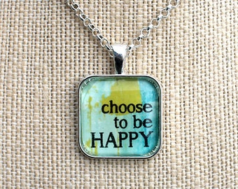 Abstract Mantra Necklaces, Inspirational Charm Jewelry, Encouragement Gifts, Choose Joy and Be Positive,