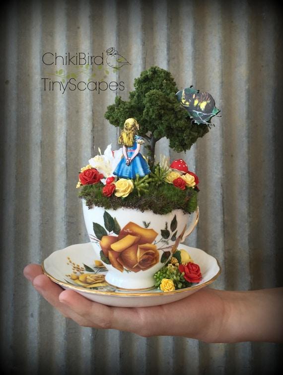 Cheshire Cat Tea Cup Garden Fairy Tea Cup Cake Topper Alice