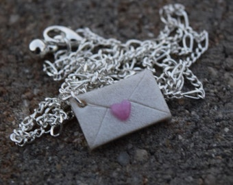 Love Letter, Valentine's Day Card, Polymer Clay Necklace, Handmade Polymer Clay Jewelry