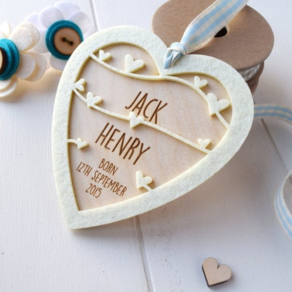 Personalised New Baby Boy Keepsake - Baby gift - New born gift - keepsake heart