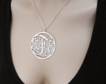 """Monogram Necklace 2"""" Sterling silver 925 - Personalized Initial monogram necklace. personalized gift, name necklace"""