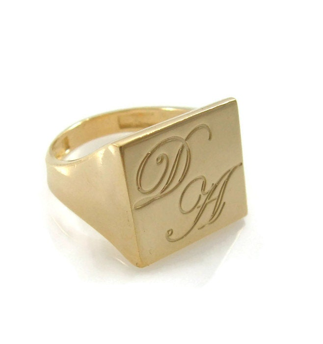 initial ring gold ring unisex initial ring square