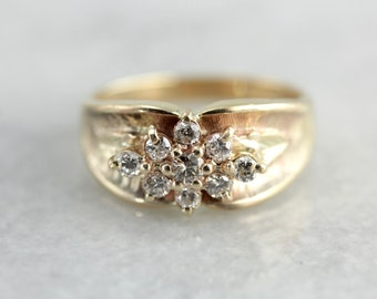 Radiant Champagne Diamond Ring in Yellow Gold, Gorgeous Engagement Alternative 3L5DPC-P
