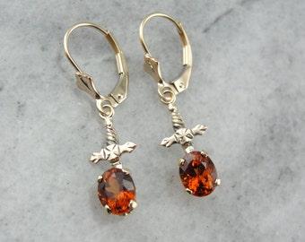 Vintage Hessonite Garnet Drop Earrings with Lovely Gold Motifs JRTMKL-R