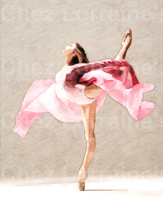 Swirling A Ballet Dance Watercolor Fine Art Print Home