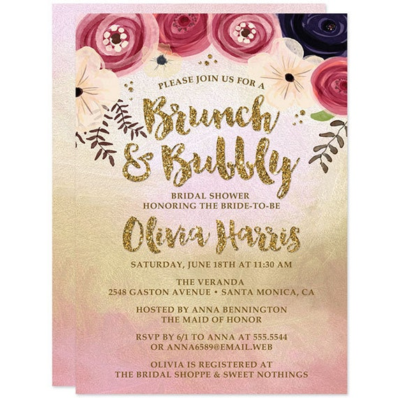 diy printable bridal shower invitations gold and pink brunch