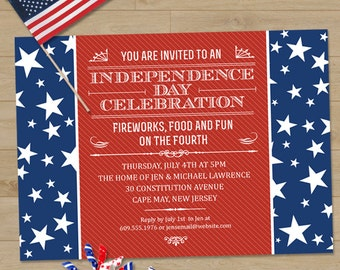 The Red White and Blue Fourth of July Party Invitation, Printable, Evite or Printed (US Only) Invitations