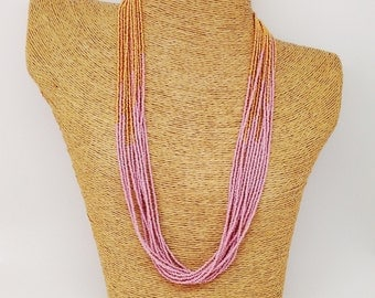 Marsala and gold necklace, pink and gold necklace, statement necklace, wedding necklace, beaded necklace, bridesmaid necklace,mauve necklace