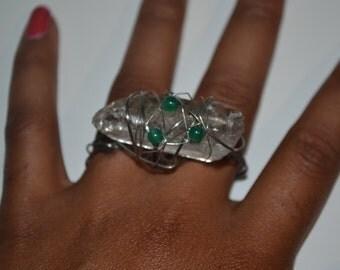 Two Finger Clear Quartz Statement Ring