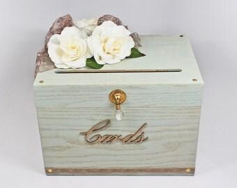 Green Card Box Sage Taupe Ivory Gold Wedding
