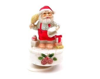 Vintage Santa Claus Music Box Plays Santa Claus is Coming to Town Christmas Decor