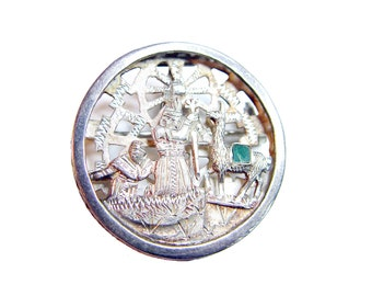 Sterling Shaman Brooch - Vintage Llama with Emerald Inset - Medicine Wheel in Sky - Figures Overlaid  on Openwork - Hinged Pendant Bail
