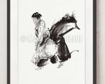 Aikido Poster. Japanese Warrior Painting. Martial arts. Calligraphy style. Japanese sumi-e painting. Wall Decor Art. Ink Art.