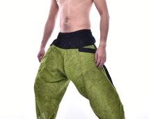 Ronnie Stree Stun Tree Runer Samurai Pants, Wide Leg Pants, Cotton Pants, Yoga pants, Unisex Pants, One Size Fit All