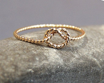 Sold 14K Gold Ring - Love Knot Ring - Solid Gold Twisted Pattern  - Bridesmaids rings - Promise Ring - Purity Ring