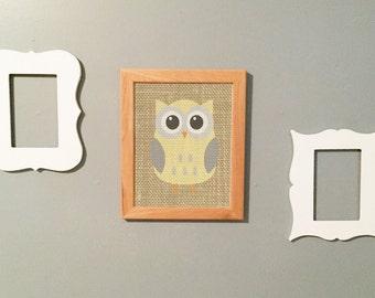 Nursery Burlap Owl Print Printable Wall Art Yellow Gray