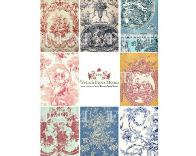 Digital French Toile De Jouy Wallpaper ATC, Digital Collage Sheet, French Digital Tags