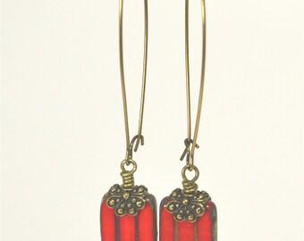 Red Czech Glass Drop Earrings