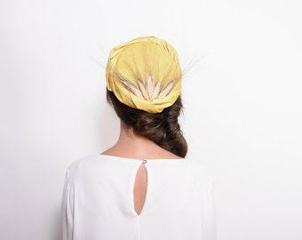 Audrey Hepburn style, tea party hat, derby hat, vintage style, mustard pillbox hat, Jackie Kennedy style, yellow headpiece, fascinator hats
