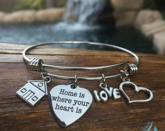 Home is Where Your Heart Is Bracelet - Expandable New Home Charm Bangle - Home Sweet Home - College Student Bracelet - Stainless Steel Wire