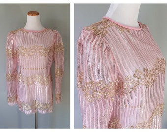 Vintage Metallic Silver Gold Soft Pink Blouse Sheer Lace 1970s 1980s Floral Dress Top Evening Bridal Blouse Long Sleeve Size Small Medium