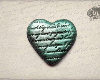 Neo-Victorian jade green & silver polymer clay loveheart brooch 5cm - handmade + hand-painted letter embossed - Romanctic love gift for her