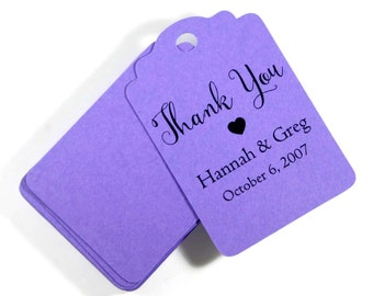 Purple Wedding Gift Tags set of 20 - Personalized Royal Purple Wedding Favor Tags - Custom Favors - Bridal Shower Tags - Wedding Hang Tags