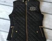 Monogrammed Vest, Monogram Puffy Vest, Monogram Vest, Quilted Vest, Monogrammed Clothing, Black Vest, Black Puffy Vest, Black Quilted Vest
