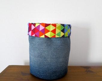 Fabric Storage Basket - Upcycled Jeans