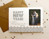Letterpress Holiday Photo Card - 25 or more flat cards with envelopes - 1 ink color - New Years, Happy New Year, Joy, Family, simple, DIY