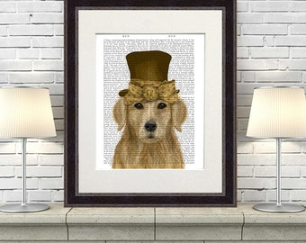 Golden Retriever art - Hat and Bow Golden Retriever print Golden Retriever wall art Whimsical Unique kid gift Cute animal art kids rooms