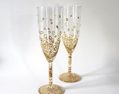 Gold Bubbly Champagne Glass - Hand Painted | Celebration, Wedding, Birthday, Anniversary, New Years, Bubbles, Winner, 1st Place, Graduation