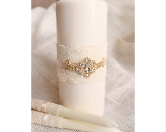 Gold Wedding Unity Candles white OR ivory - White Unity Candle W/ Gold Rhinestone unity candle set with lace and bling, candles for wedding
