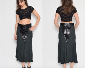 Vintage 80's Suede Leather Black Mid Calf High Waisted Skirt