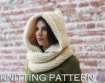 Hooded Cowl KNITTING PATTERN - Hooded Infinity Scarf Knitting Pattern - Easy Cowl Pattern - Hooded Scarf Pattern - Hooded Scarves Pattern